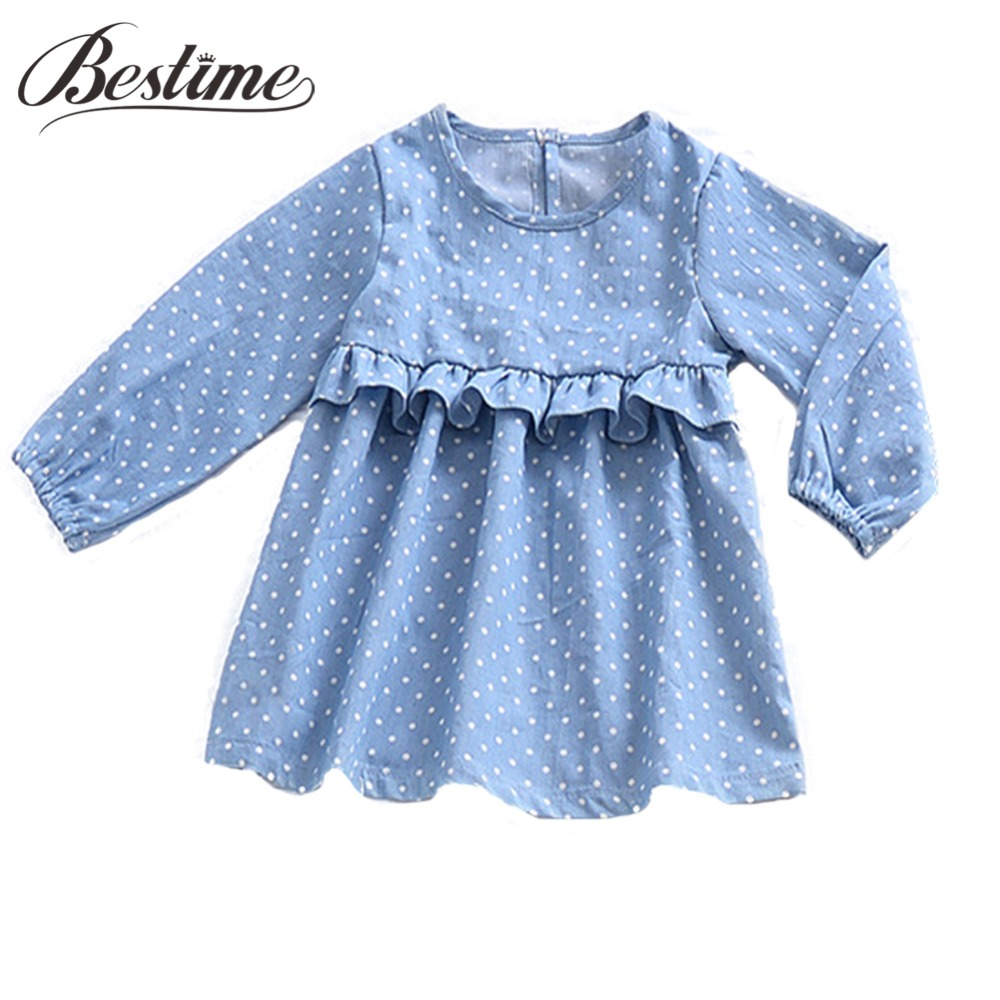 1-4y Baby Girl Clothes Long Sleeve Girls Dress Cotton Polka Dot Ruffle Children Dress Cute Toddler Kids Dress for Girls spring autumn cute baby kids girls party dress kids clothes cotton toddler girl clothing long sleeve baby girl princess dress