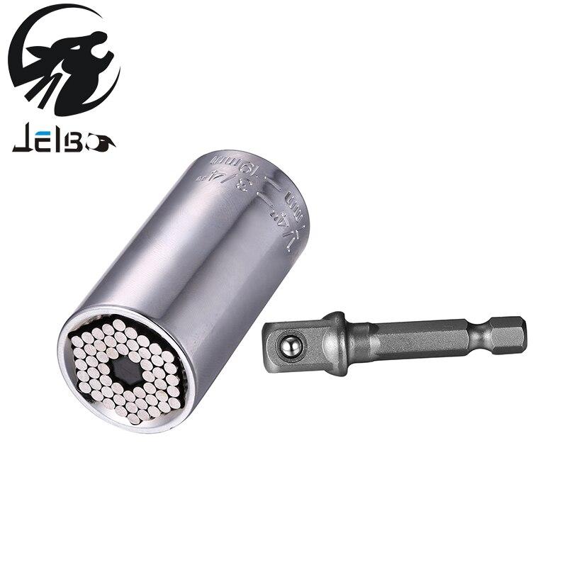 Jelbo 2Pcs 7-19mm Universal Socket Adapter Power Drill Adapter Multi-Function Ratchet Car Hand Tool Set Repair Kit