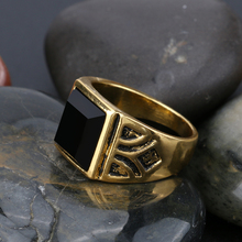 Kinel Dubai Fashion Gold Color Ring Men Wedding Paty Accessories Punk Black Ring Vintage Jewelry Wholesale 2017 New
