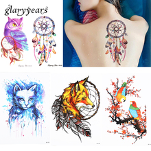 1 Sheet Fake Back Arm Chest Leg Tattoo 870 HB Designs Skull Fox Cat Temporary Water Transfer For Women Men Tattoo Sticker Beauty