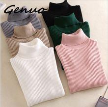 Genuo New Winter Womens Sweater Turtleneck Warm Knit Fashion Slim Large Size M-3XL Elastic Soft Female Pullovers