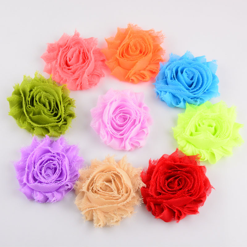 Wholesale 300pcs lot 2 5 Inch 26COLORS Shabby Chiffon Fabric Flower For Girls Headband Kids Flower