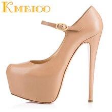 где купить Kmeioo 2018 Sexy Ladies Shoes Fashion Platform Buckle Strap Pumps Round Toe Super High Heels Evening Party Stiletto Woman Shoes по лучшей цене