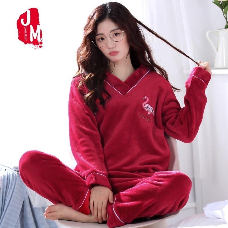 Warm Pyjamas Women Winter Coral Fleece Thick Women Pajamas Sets Autumn  Flannel Pajamas Female Cartoon Pijamas Homewear Sleep XXL 9e04743ac