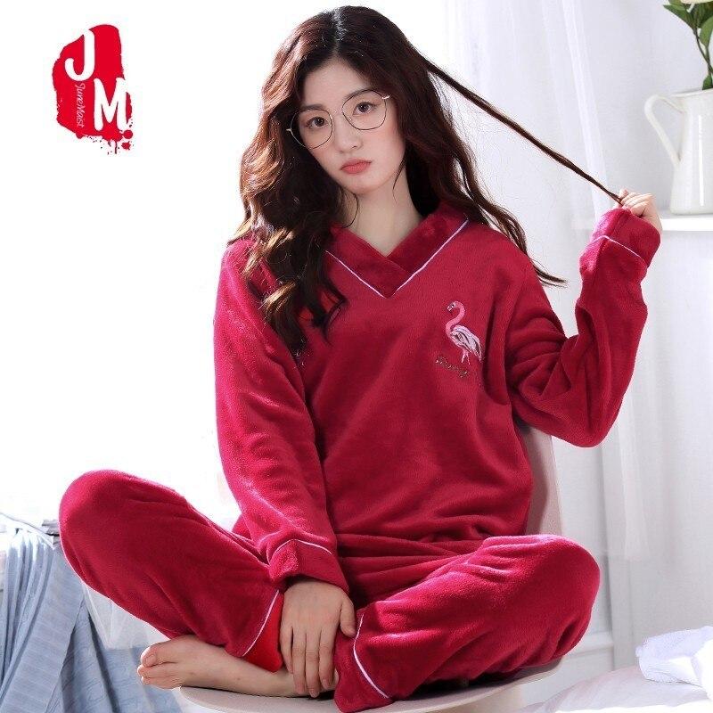 d5c09b745023 Warm Pyjamas Women Winter Coral Fleece Thick Women Pajamas Sets ...