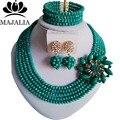 2017 Clásico de Nigeria Boda perlas africanas joyería conjunto Verde Pavo Real collar pendientes pulsera de Cristal Envío gratis Asd3510