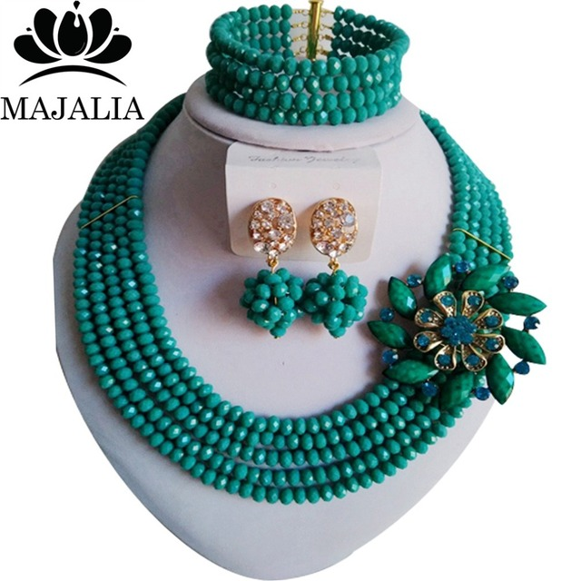 2017 Classic Nigeria Wedding african beads jewelry set Peacock Green Crystal necklace bracelet earrings Free shipping Asd3510