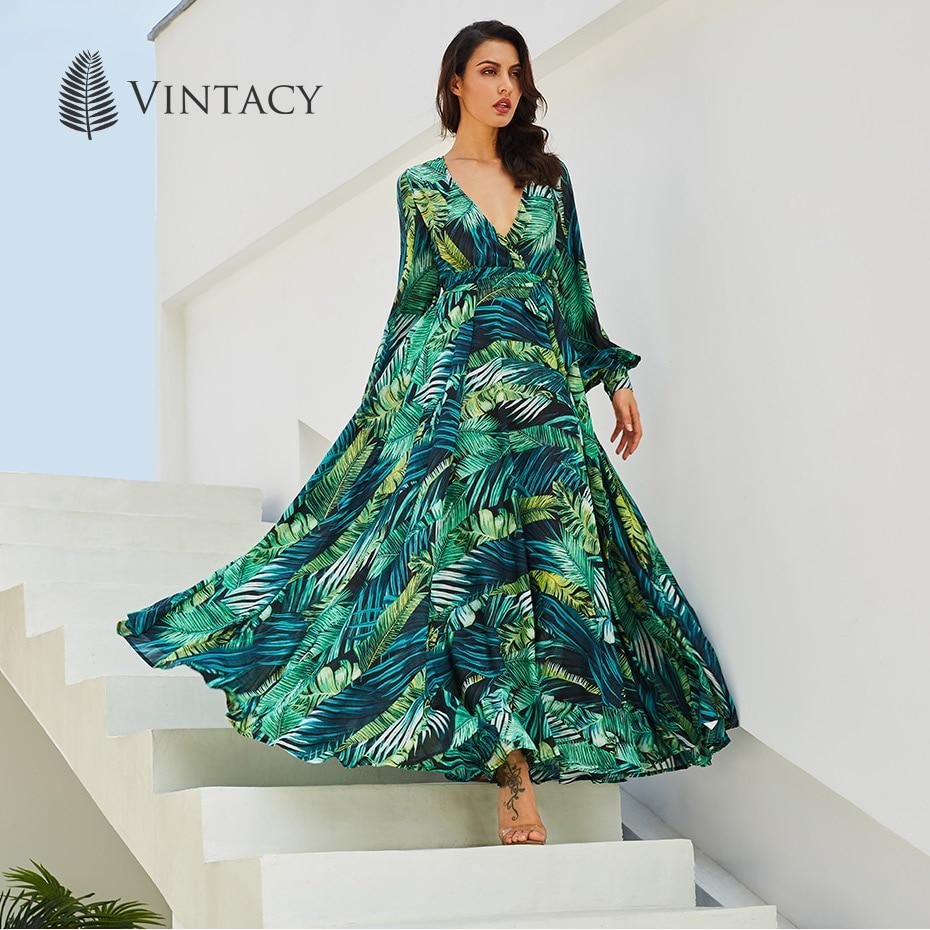 Vintacy Langarm Kleid Grün Tropical Print Vintage Maxi Kleider Boho ...