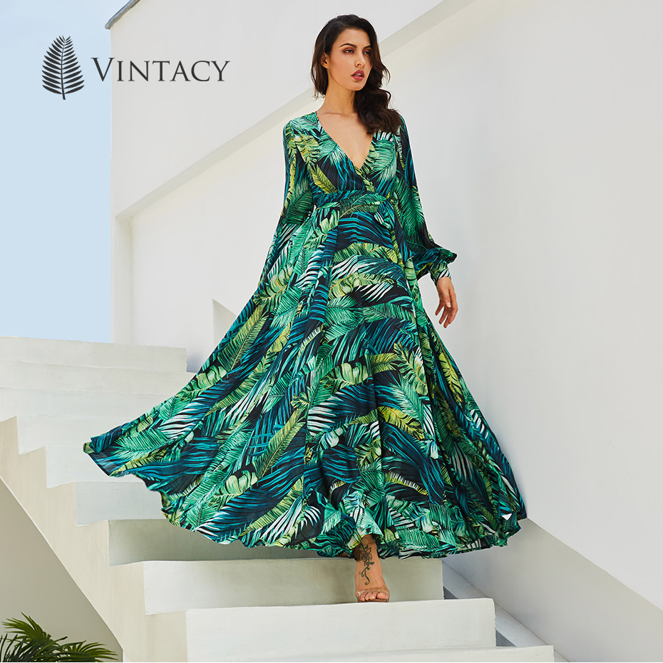 fbefe96156c Vintacy Long Sleeve Dress Green Tropical Print Vintage Spring Maxi Dresses  Boho Casual V Neck Belt Lace Up Tunic Draped Plus Size Dress Summer