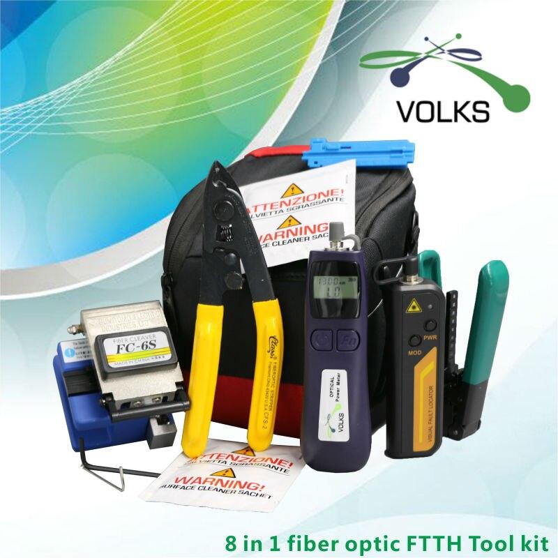 8 в 1 волокно комплект инструментов для работы с оптическим кабелем FTTH FC 6S волоконно оптический измеритель мощности 12 км Визуальный дефектос