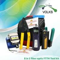 8 In 1 Fiber Optic FTTH Tool Kit FC 6S Fiber Cleaver Optic Power Meter 12km Visual Fault Locator