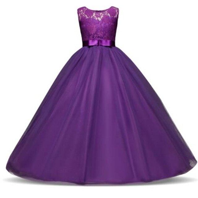 O Vestido da menina Elegante Princesa 5-14 Anos As Crianças Vestido de Festa Para O Casamento De Meninas Tule Laço Longo Pageant Vestido Formal para Adolescentes Crianças