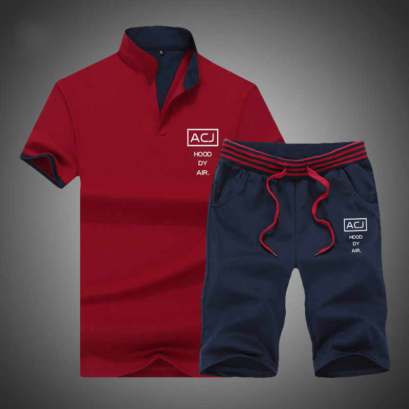 Летние брендовые фитнес-костюмы 2 шт. топ короткие подставка из набора Воротник Мода 2 шт. футболка шорты спортивный костюм мужские спортивные костюмы комплект для мужчин 2019