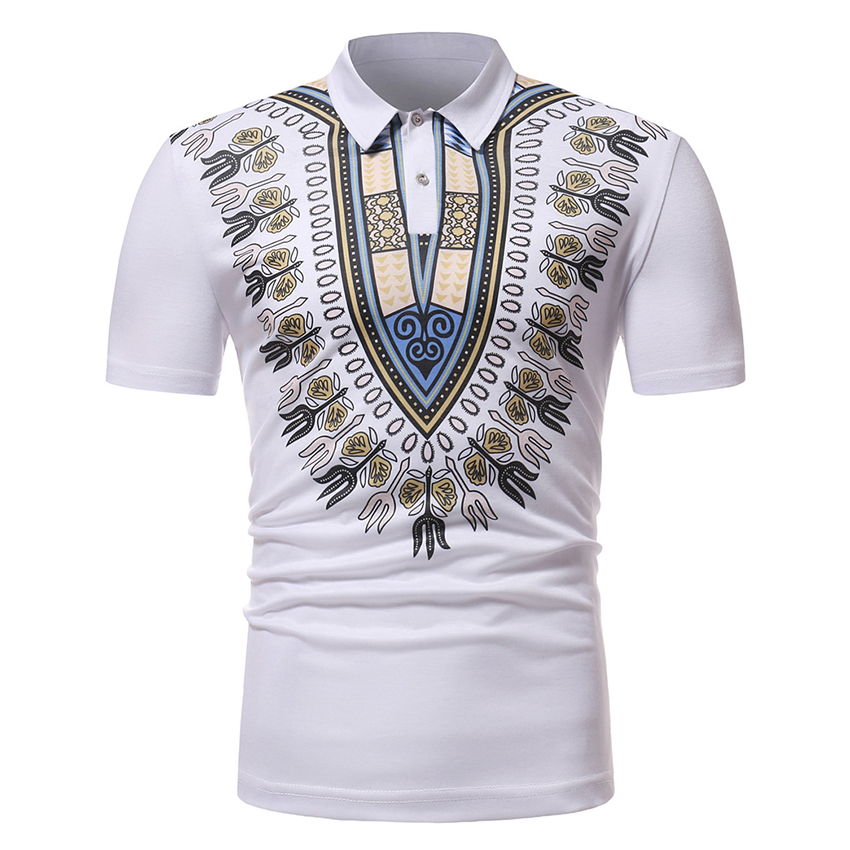 Men's   Polo   Shirts with Printing 2019 Fashion African Style Male Short-sleeved Turn-lapel Top Shirt Dashiki African Clothing