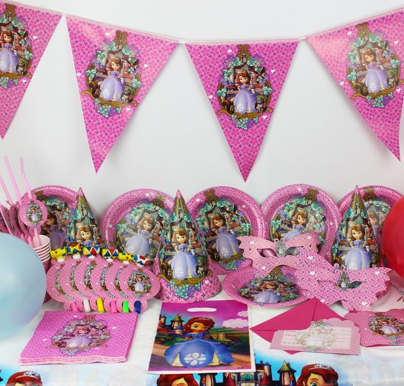 OUSSIRRO enfants fête d'anniversaire décoration ensemble Sofia princesse fille Sophia thème fête fournitures bébé fête d'anniversaire Pack