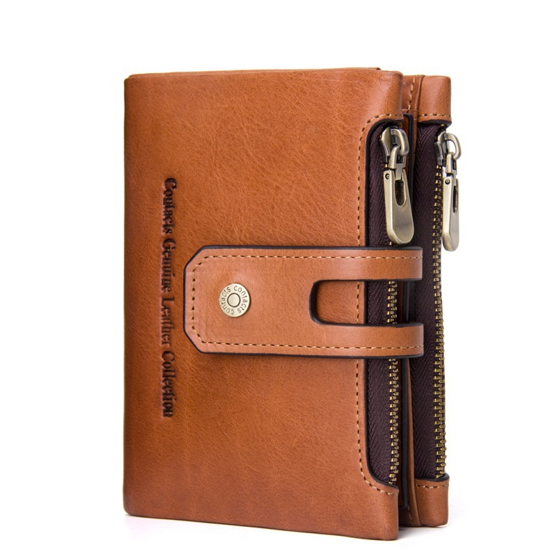 Weduoduo Men Wallet Genuine Leather Card Holder Short Zipper Wallet Luxury Man Purse Brand Card Case Fashion Standard Wallets in Wallets from Luggage Bags