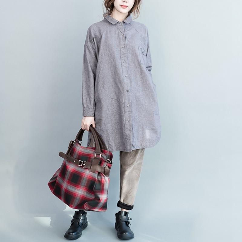 Blouses Casual gris Shirt Mode Bleu Taille Grande Chemises Femmes Gris Elseisle Vintage Tops Bleu Dames Femme Coréenne Blouse qA6P4xnv