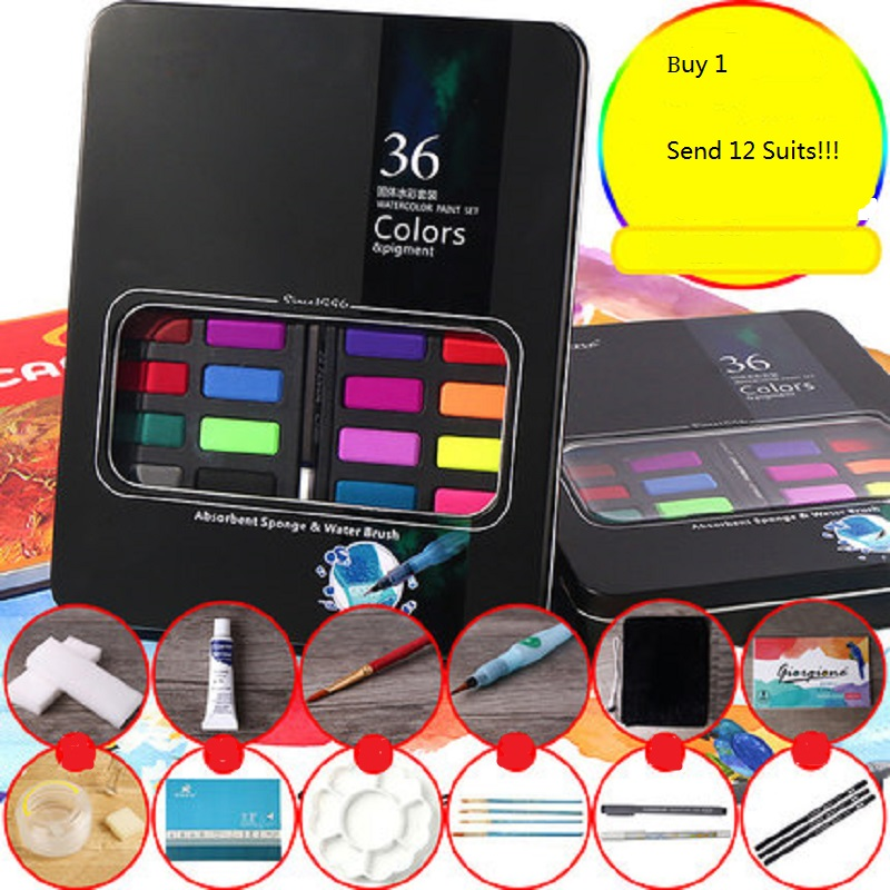 Gior Portable 36 Color Solid Watercolor Pigment Suit Student Hand-painted Beginner PaintGior Portable 36 Color Solid Watercolor Pigment Suit Student Hand-painted Beginner Paint
