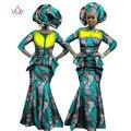 BRW Riche Bazin Africano Dashiki Imprimir Crop Top y Falda Set Vestido africano para Mujer de Algodón Con Pliegues Falda de Dos Piezas Set WY1059
