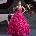 Romance Rosa Quente Frisada de Cristal Ruffles Tafetá Baratos Vestidos Quinceanera 2016 vestido de 15 años Debutante Vestido