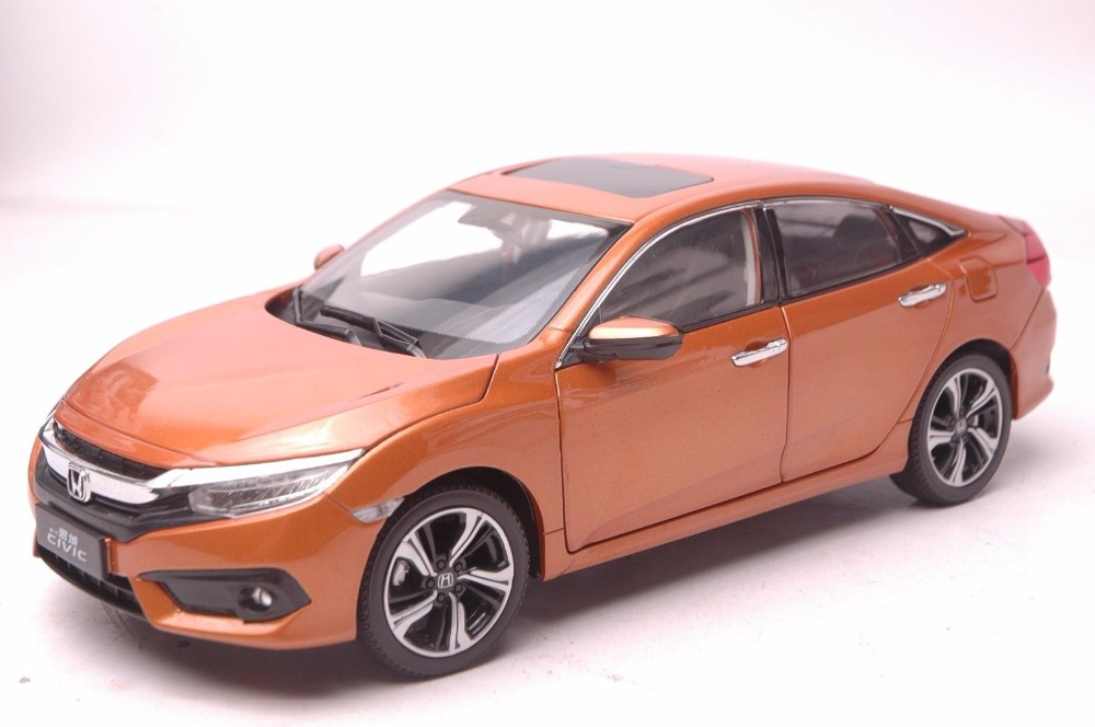 1:18 Diecast Model for Honda Civic 2016 MK10 Orange Sedan Alloy Toy Car Miniature Collection Gifts 1 18 diecast model for buick lacrosse black classic sedan alloy toy car collection gifts