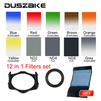 DSLR Camera Square Lens Filters Kit 10 in1 Full ND Graduated Blue Yellow Grey Orange with Holder Ring Adapter for photography