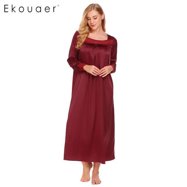 4f7e69529 Ekouaer Long Satin Nightgowns Sleepwear Dress Women Long Sleeve Lace Trim  Ruffles Loose Nightgown Chemise Night Dress Plus Size