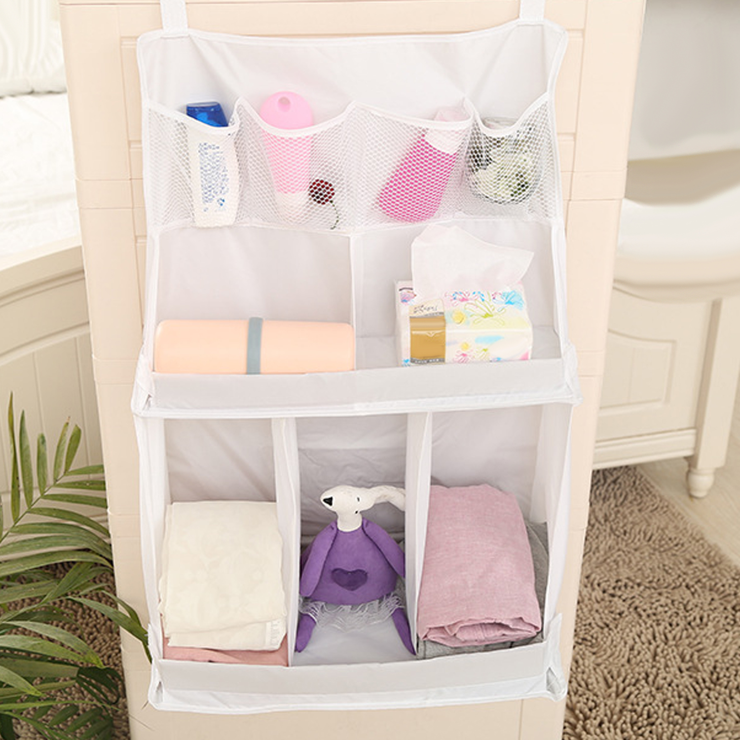Behogar Portable Baby Crib Bed Hanging Diaper Bag Storage Organizer Pocket Accessories for Baby Wipe Bottle Nappy