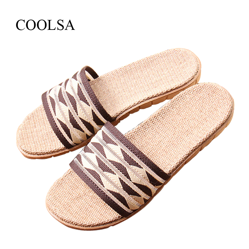 COOLSA Brand Men's Linen Slippers Summer Home Indoor Slippers Flat Hollow Beach Bathroom Non-slip Slippers Mujer Zapatos Hot coolsa women s summer flat cross belt linen slippers breathable indoor slippers women s multi colors non slip beach flip flops