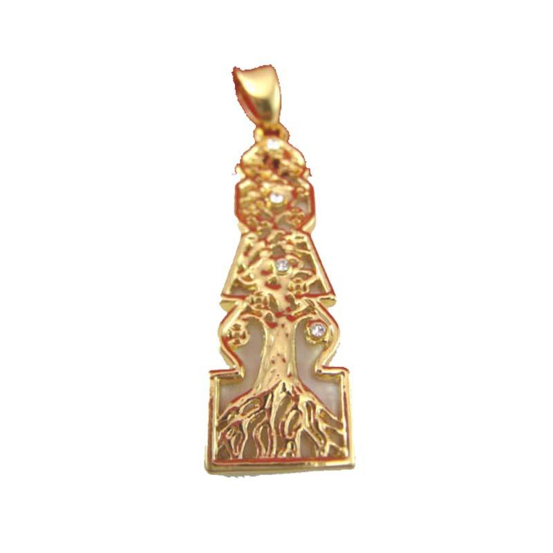 New Feng Shui Element Pagoda With Tree of Life Gold Metal Brass PendantNew Feng Shui Element Pagoda With Tree of Life Gold Metal Brass Pendant