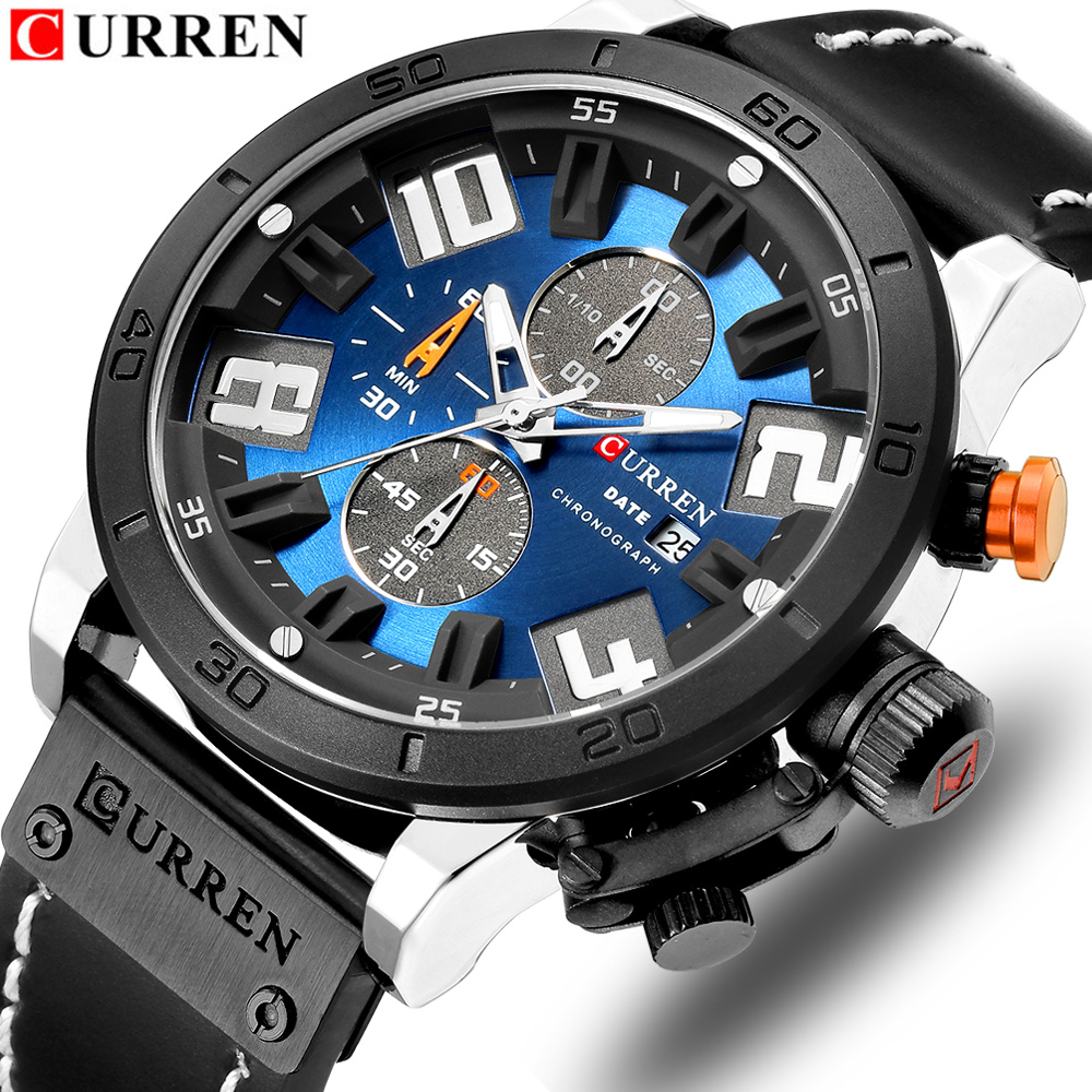CURREN Mens Watches Top Brand Luxury Watch Men Military Leather Sports Watches Waterproof Quartz Wristwatches Male ClockCURREN Mens Watches Top Brand Luxury Watch Men Military Leather Sports Watches Waterproof Quartz Wristwatches Male Clock