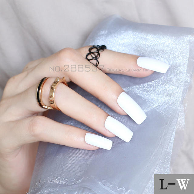 Personality New Super Long white Square head Candy solid color Full ...