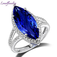 Attractive Marquise 8x18mm 18kt White Gold Diamond Tanzanite Engagement Ring SR307