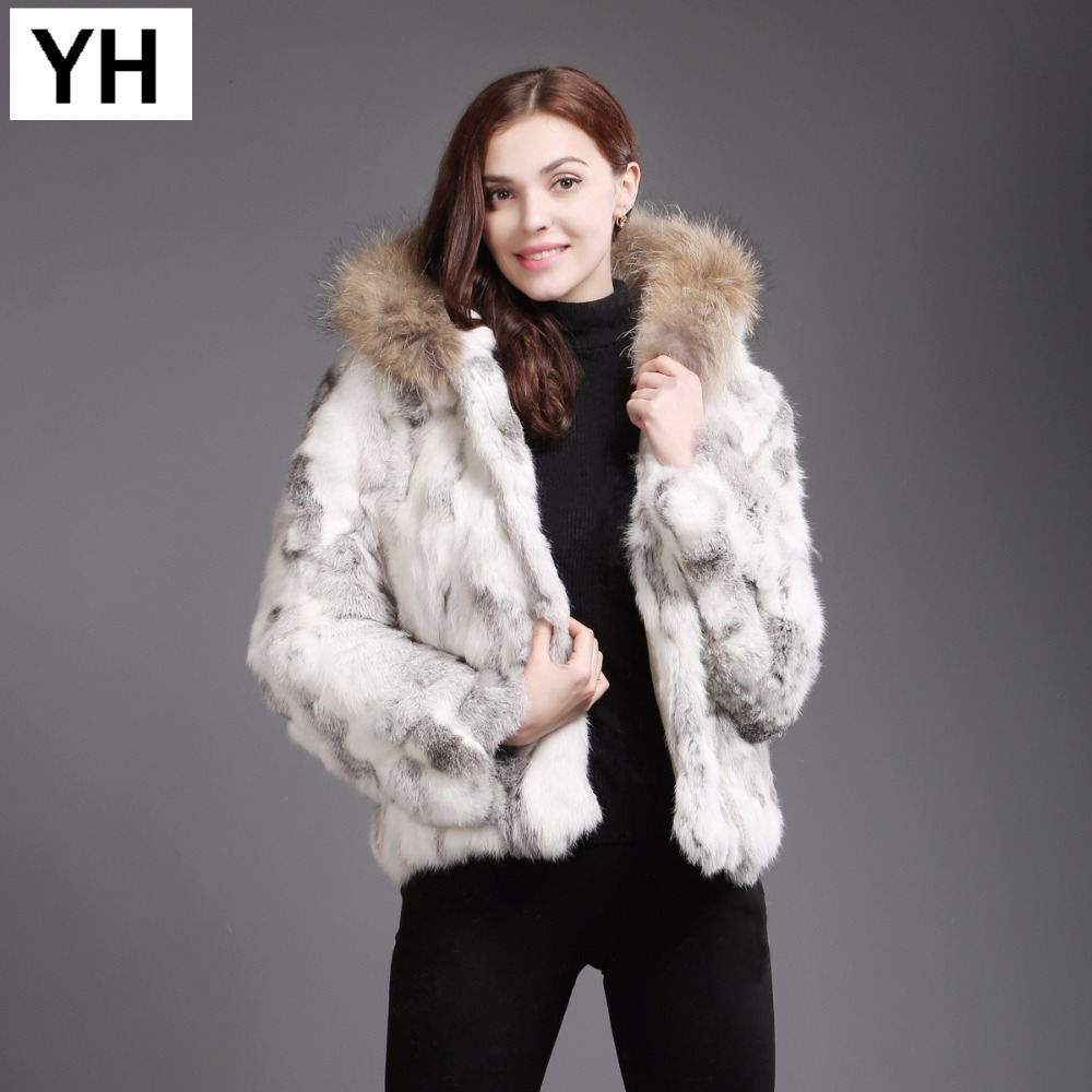 Réel Lapin Fashion Yellow Fourrure Manteau Manches À Natural Raton natural Veste Naturel New De Long 2018 Laveur Chaud D'hiver Grey Capuchon Lady Yq1twx5