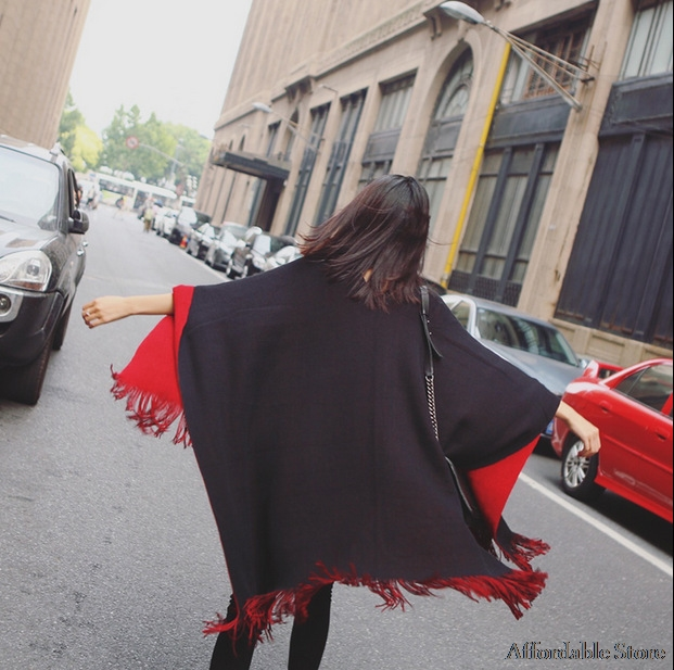 Women's autumn and winter long double-sided red cashmere scarf fork shawl dual warm thick thickened cape