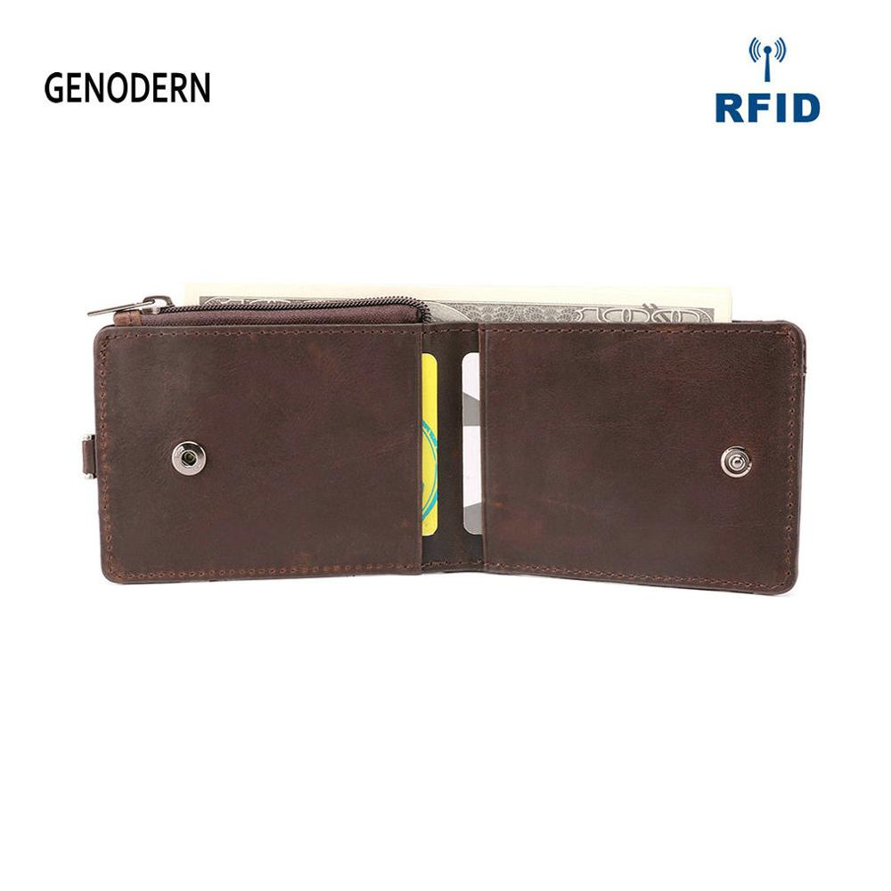 GENODERN RFID Crazy Leather Mini Wallet with Card Holder Small Slim Male Purse Card Wallet Thin Men Wallets