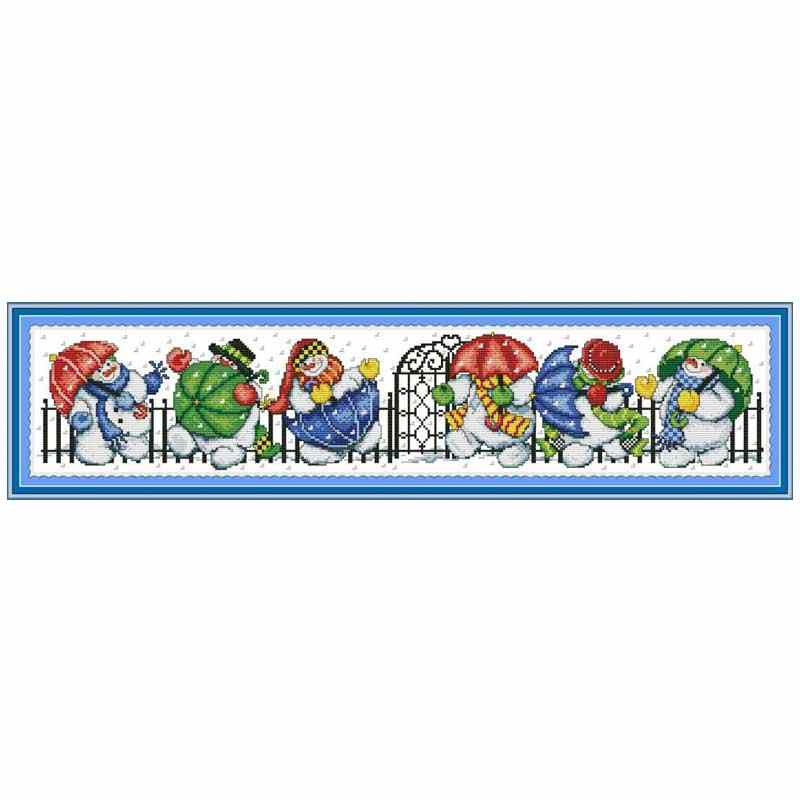 Snowman and umbrella cartoon counted DMC 11CT 14CT DIY kit Chinese wholesale Cross Stitch embroidery needlework Sets home decor