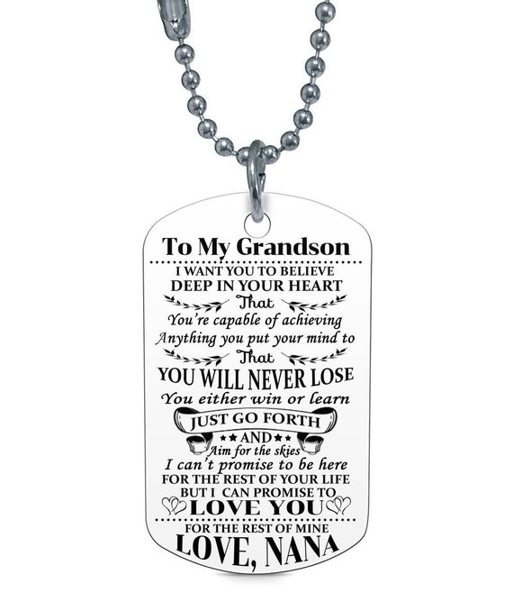 Steel Stainless Military Dog Tags Necklace To My Grandson
