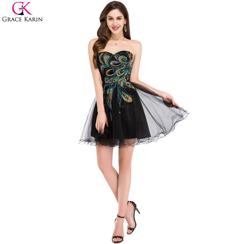 Organza sweetheart peacock prom dresses grace karin black for Sexy wedding reception dresses