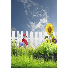 Laeacco Spring Green Jungle Fence Sky Flowers Portrait Natural Scene Photographic Backgrounds Photo Backdrops For Studio