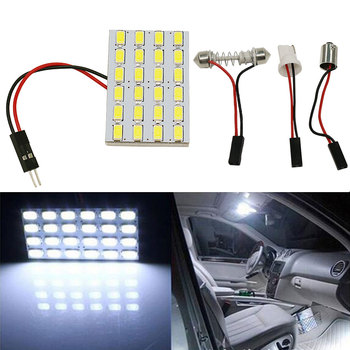 1SET T10 24 LED 5730 SMD Light Panel Board Pure White Car Auto Interior Reading Dome Map Interior BA9S Festoon Lamp Bulb DC12V image