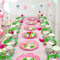 40 Takım Flamingo Tropikal Hawaiian Luau Parti Malzemeleri Kağıt Tabaklar Yemekleri Bardak Peçete Payet Sofra Düğün Dekor Seti