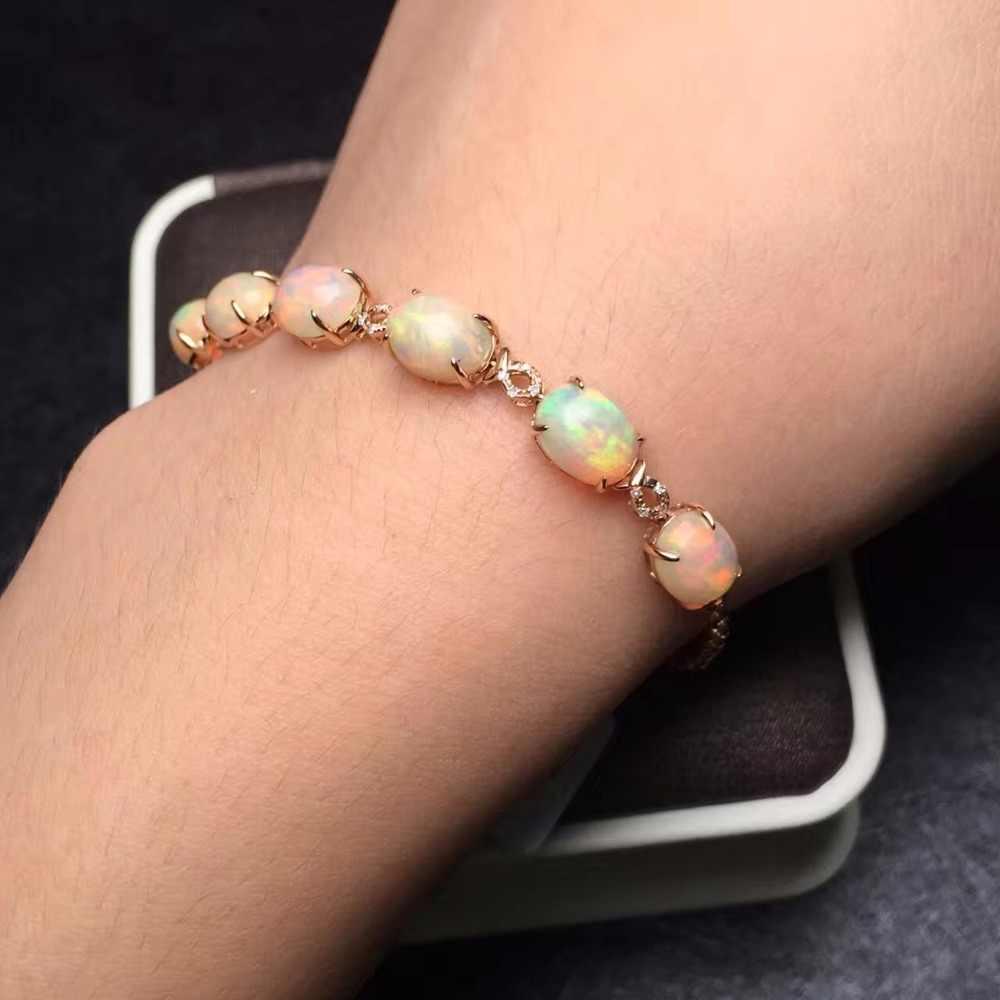 Fine Jewelry Real 18K Ouro Rosa AU750 G18K 100% AU Natural Pedras de Opala Amor Pulseiras Jóias para as mulheres Bem pulseira