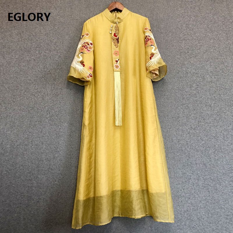 Tassel Party Elegant Dress New 2020 Spring Summer Fashionale Women Cute Swan Embroidery Half Sleeve Straight Yellow Pink Dress