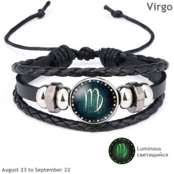 Luminous Signs of the Zodiac Decorated Leather Bracelet Bracelets Jewelry New Arrivals Women Jewelry Metal Color: Virgo