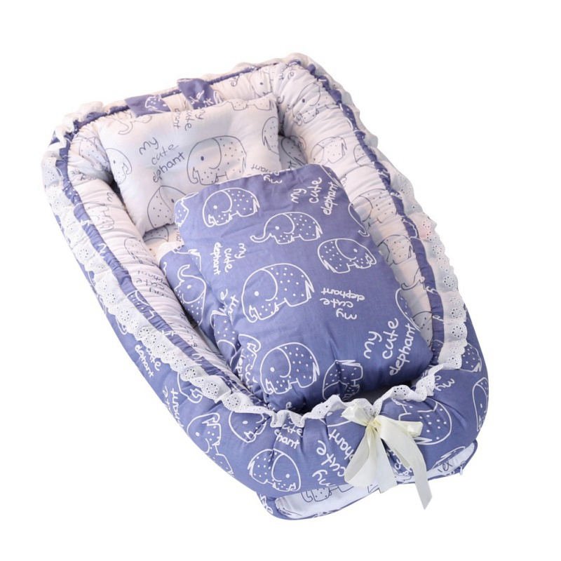Portable Baby mattress for Newborn Crib Breathable and Sleep Nest with Pillow Baby Bedding Fashion