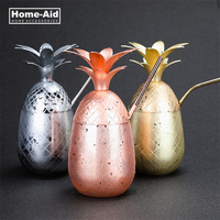 Pineapple Tumbler Moscow Mule Mugs 900ml Beer Copper Mug Stainless Steel Cup Cocktail Cup Wine Glass Drinking Bar Tool