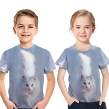 Children white T-shirt white cat 3D printing short-sleeved T-shirt for boy girl 2-13 years Kids summer clothes round neck cotton
