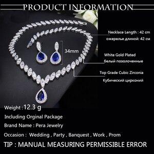 Image 5 - Pera CZ Luxury Bridesmaid Accessories Cubic Zirconia Stone Big Bridal Wedding Pera Cut Dropping Jewelry Sets For Women J048