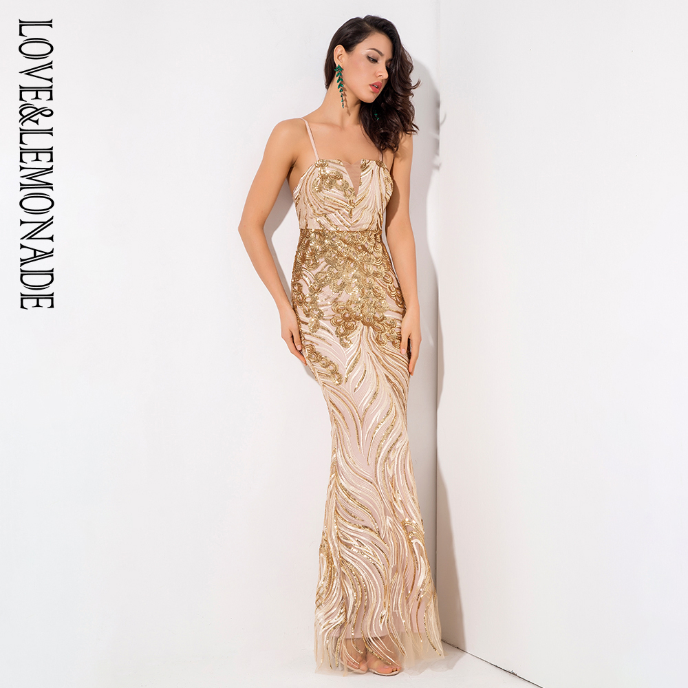 Love&Lemonade  Gold Bra Slim Sequin Material Long Dress LM81318-in Dresses from Women's Clothing    3
